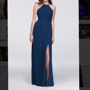 David's bridal marine blue dress